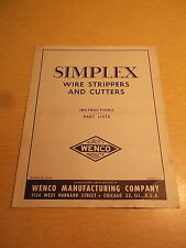 Simplex Wire Strippers and Cutters Instruction Part List Manual *Free Shipping*