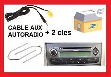 Cable auxiliaire aux 3.5mm prise audio autoradio pour Fiat Grande Punto + cles