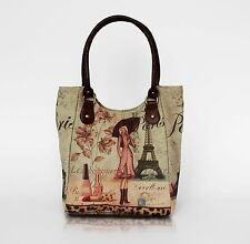 French Vintage Design Woman Handbag Tote Shoulder Bag Canvas Fabric Gift Idea