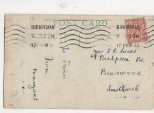 Mr FC Lucas Bishopton Road Bearwood Smethwick 1922 489a