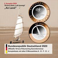 Deutschland 5 x 10 Euro 2020 An Land Strandsegler Komplettsatz ADFGJ im Folder