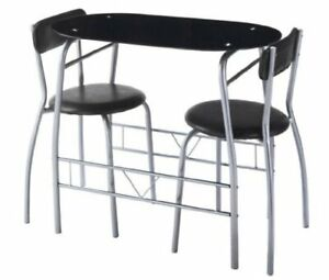 3 Piece Modern Dining Table and 2 Chairs Set Glass Top Black Metal Frame Kitchen