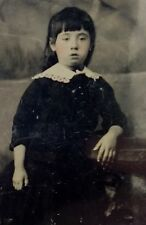 c1890 ANTIQUE TINTYPE PHOTO PORTRAIT OF A YOUNG WOMAN - Uncirculated