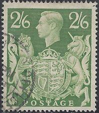 "Great Britain Stamp - Scott #249A/A104 2sh6p Yel Green ""George Vi"" Canc/Lh 1939"