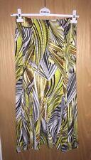 NWT DORIS STREICH YELLOW / MINK PATTERNED STRETCH JERSEY MAXI SKIRT SZ 30 £89.99