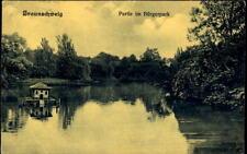 BRAUNSCHWEIG 1911 Partie im Bürger-Park Teich alte Postkarte Ansichtskarte