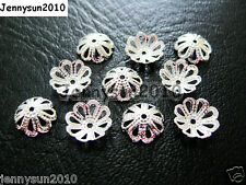 100Pcs Silver Plated Over Copper 8mm Curved Bead Caps Flower Findings