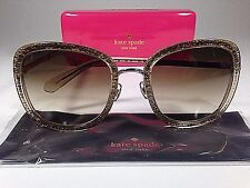 $195 New Authentic Kate Spade Scottie Butterfly Sunglasses Gold Glitter Gradient