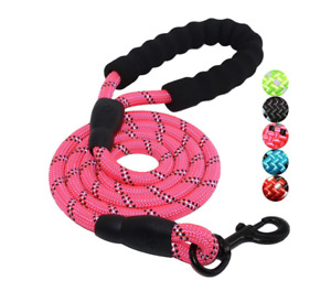 5 ft.Strong Dog Leash Rope with Comfortable Padded Handle Reflective Metal Clasp