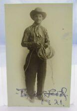 More details for antique signed tex mcleod cowboy antique postcard-size photograph wild west show
