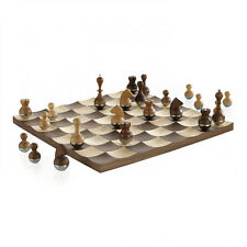 Umbra Wobble Chess Set Wooden Curvy Modern Collectors Gift  Intl. Design Award