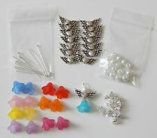 MAKE YOUR OWN BEAD ANGEL CHARMS  KIT 14 ANGELS (7 PAIRS) ANTIQUE  SILVER WINGS