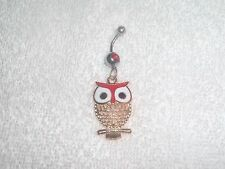 Red Color Owl Charm Belly Button Navel Ring Body Jewelry Piercing 14g