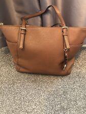 Genuine Michael Kors Jet Set Tote Bag Tan Brown Handbag In Saffiano Leather