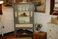 China Cabinet Antique Wood Linen  Annie Sloan Chalk Paint Coco Cream Country