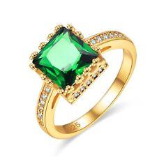 Fashion New Gold Plated Silver Bridal Ring Emerald Gemstone Wedding Jewelry Gift
