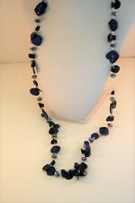 """Style & Co. silver tone dark blue shell & bead 40""""  long strand necklace"""