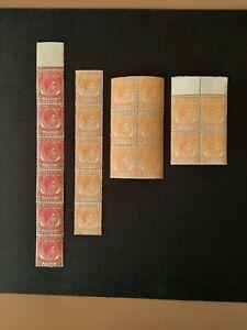 Singapore 1948 KG VI 8c scarlet (6 pieces), & 1949 2c orange (15 pieces). Mint.