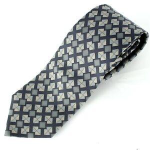 HERMES Tie Classic Necktie 100% Silk Geometric Print Gray 5348 TA