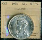 1935 Canada, King George V, Silver Dollar, ICCS MS-65