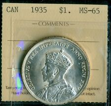 1935 Canada, King George V, Silver Dollar, ICCS MS-65
