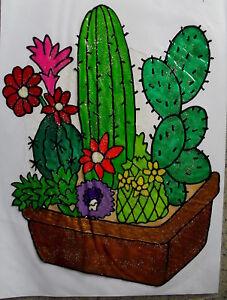 Window Color Fensterbilder Deko Blumen 5 Kakteen im Blumenkasten Nr.2