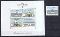 Portugal-Madeira 1990 postfrisch MiNr. 133 +Block 11 Postalische Einrichtungen