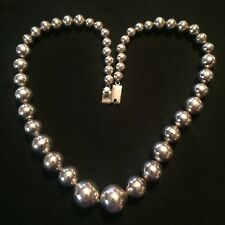 Vintage Mexico Sterling Silver Graduated Ball Bead Chain Necklace