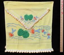 Yellow Towel Set Crocheted Fish Lily Pad Bubbles Edge Bath & Washcloth Set of 2