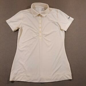 Nike Golf Polo Button Up Shirt Womens XS Beige Tour Performance Logo Fitted