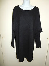 50% CASHMERE CHARCOAL GRAY LONG SLEEVES SCOOP DOLMAN STYLE TUNIC DRESS L