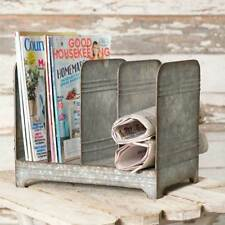 Primitive Country Galvanized Magazine Rack Farmhouse Decor Office Home Storage