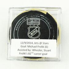 2014-15 Michael Frolik Winnipeg Jets Game-Used Goal-Scored Puck -Wheeler Assist