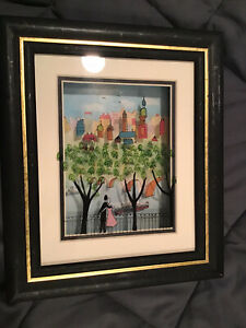 """Jean-Pierre Weill 3D """"City Overlook"""" Painted Glass Vitreography Shadow Box"""
