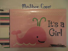 """New listing Magnetic Mailbox Cover """"It's a Girl"""" Baby Announcement, Celebrate, Pink Whale"""