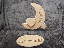 Personalised Crescent Moon MDF Wooden Craft Shape with Heart or Star