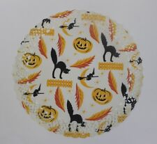 "10"" Halloween Cake Doily Cat Jack O' Lantern Witch Unused"
