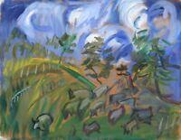 """Russischer Realist Expressionist Öl Leinwand """"Hirte und Schafe"""" 45 x 35 cm"""