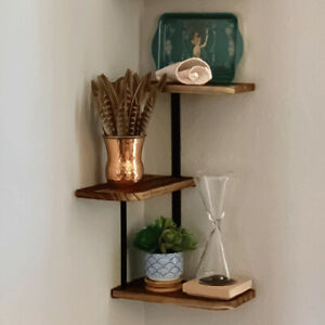 Iron Frame Corner Wall Mounting Shelf 3 Tier Wooden Floating Shelves Plants Rack