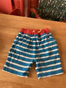 New Frugi Boys Blue/Red Striped Octopus Embroidered Jersey Shorts Age 2-3 Years