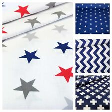 LOVELY red white and navy 100% COTTON FABRIC chevron, stripes, stars, crosses