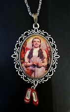 Wizard Oz House Dorothy Ruby Slippers Large Silver Pendant Charm Necklace Camp