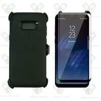 Black Galaxy S8 Plus Defender Case w/Tempered Glass Screen & Clip fits Otterbox