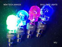 SKULL HEAD LED Bike Bicycle Car Motorcycle Wheel Valve Stem Cap tire Light lamp