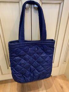 Vera Bradley navy blue weekender Travel Tote Bag quilted floral inside nice!