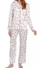 Carole Hochman White/Red CARDINAL BIRD Matte SATIN Pajama Set Sz Large NWT $68