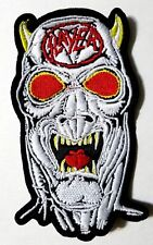 SLAYER WHITE DEMON SHAPED EMBROIDERED PATCH