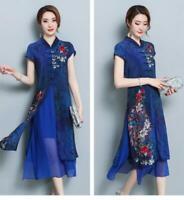 Womens Silk Blend Floral Chinese Retro Qipao Dress A line Ao Dai Dress Cheongsam
