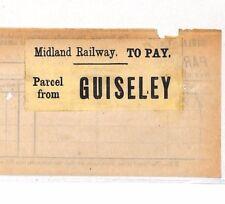 BC134 1892 GB MIDLAND Railway presto pacco STAMP * guiseley * Stazione modo BILL York