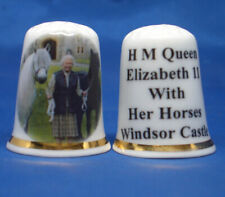 Birchcroft China Thimble --  H M Queen Elizabeth & Her Horses - with Free Box